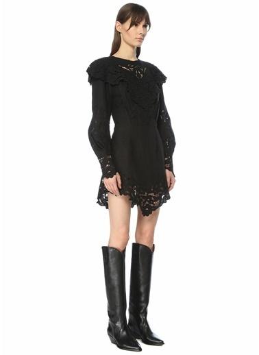 Etoile Isabel Marant Isabel Marant  Yaka Detaylı Dantelli Mini Elbise 101550609 Siyah